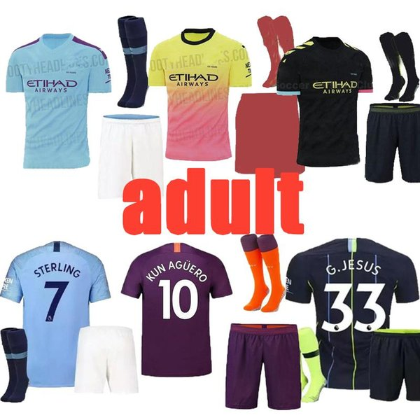 19-20 new Thailand JESUS DE BRUYNE KUN AGUERO manchester soccer jerseys city jersey 19-20 football KIT Top sets city free shipping