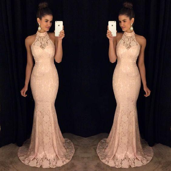 Vintage 2019 Champagne Mermaid Prom Dress Sheer High Collar Cutouts Backless High Neck Evening Gown with Sequined Cocktail Party Dresses