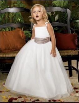 18077 Zarif Saten ve Yumuşak Tül Çocuk nedime prenses çiçek kız elbise Communion Elbise Ismarlama