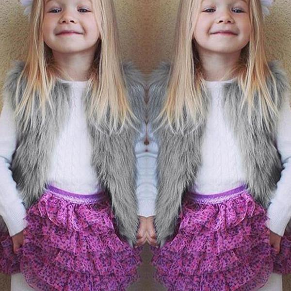 Fille Hiver Chaud Gilet Enfants designer Élégant En Fausse Fourrure Gilet Pour Tout-petit Costumes Épais Outwear Vêtements Ropas