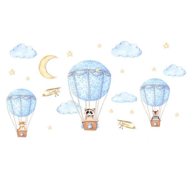 Diy Cartoon Animal Hot Air Balloon Wall Sticker For Kids Rooms Baby Bedroom Wall Decals Self-Adhesive Murals