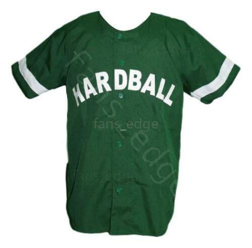 G-Baby Kekambas Hard Ball Movie Baseball Jersey Button Down Green Mens Stitched Jerseys Shirts Size S-XXXL Free Shipping 227