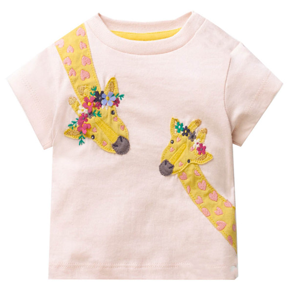 Jumping Meters Girls Summer Tops Unicorn T-shirt Kids Clothes Animal Applique Children T shirts for Girl Clothing Baby Tee Shirt