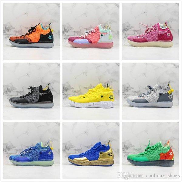 Yeni Basketbol Yıldız KD 11 Basketbol Ayakkabı 11 s Erkek Sarı Pembe mavi Yeşil Gri Kutu Ile Spor Sneakers Açık Havada Eğitmenler ...
