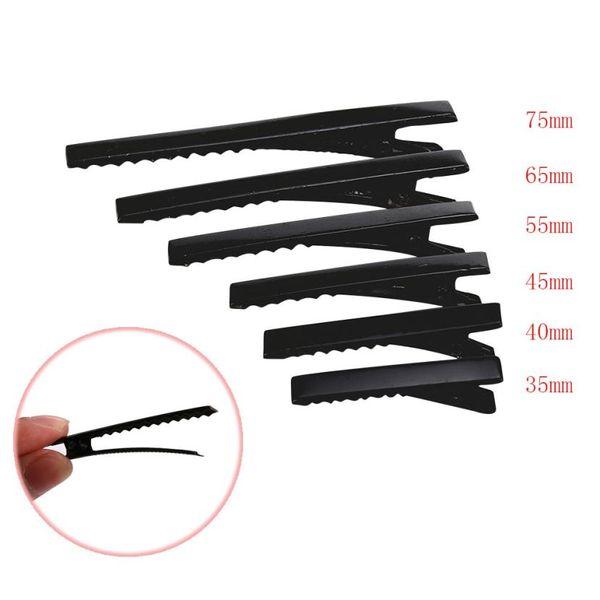Pinzas para el cabello negro pequeño lote de plata medio cocodrilo cocodrilo arco en blanco pinzas para el cabello 150 unids
