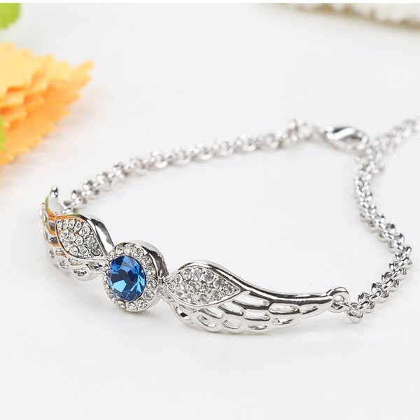 Europe and the United States sell like hot cakes new crystal silver bracelet fashionable angel wing women's wedding charm bracelet