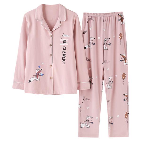 Pijama Setleri Bahar Sonbahar Pembe Karikatür Tilki Kadınlar Uzun Kollu Pijama Takım Ev Kadın Hediye Kadın Pijama Pijama Mujer Femme