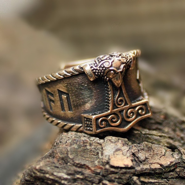 Mens Viking Stainless Steel Ring Silver Good Luck Rune Mjolnir Thor Hammer Nordic Rings Amulet Jewelry Gift