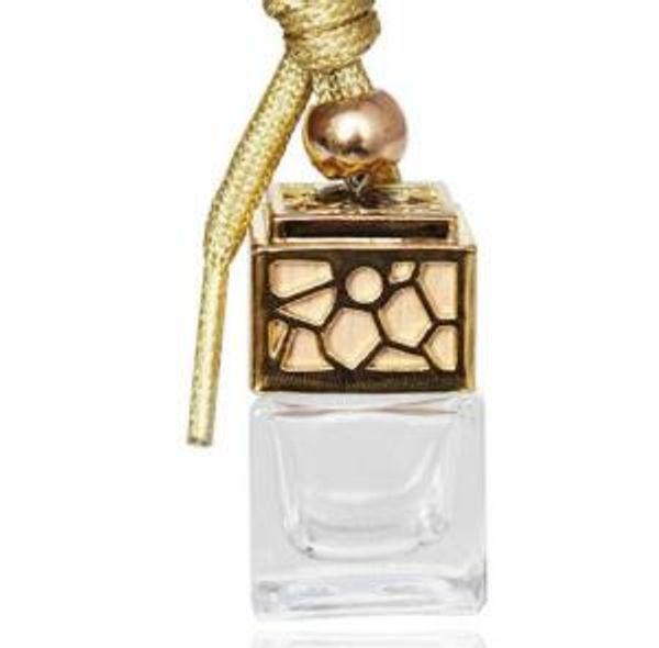 Botella de perfume Cubo Coche Colgando Perfume Adorno Ambientador Moda Aceites esenciales Difusor Fragancia Botella de vidrio vacía 5ml GGA1480