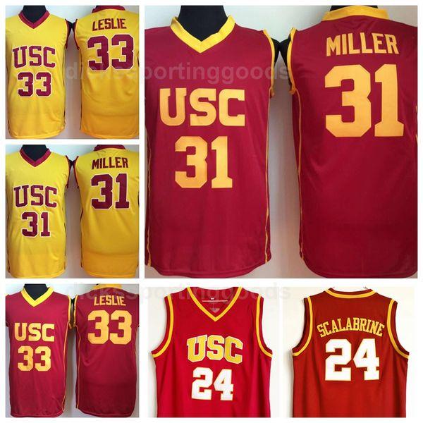 NCAA College USC Trojans Basketball 24 Brian Scalabrine Jersey Men 31 Matt Miller 33 Lisa Leslie Red Yellow Uniform Team University Quality