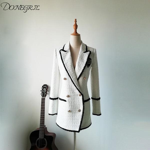 De alta calidad de Otoño Invierno 2019 chaqueta de las mujeres del Rhinestone de la insignia doble de pecho chaqueta informal Tweed Negro blanco del bloque color de la capa