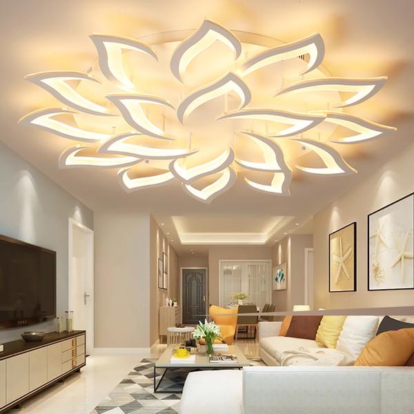 Parlaklık Avize Işık Oturma odası Yatak Odası için Yüzeye monte çiçek şekli Modern Tavan Avize Aydınlatma Avize