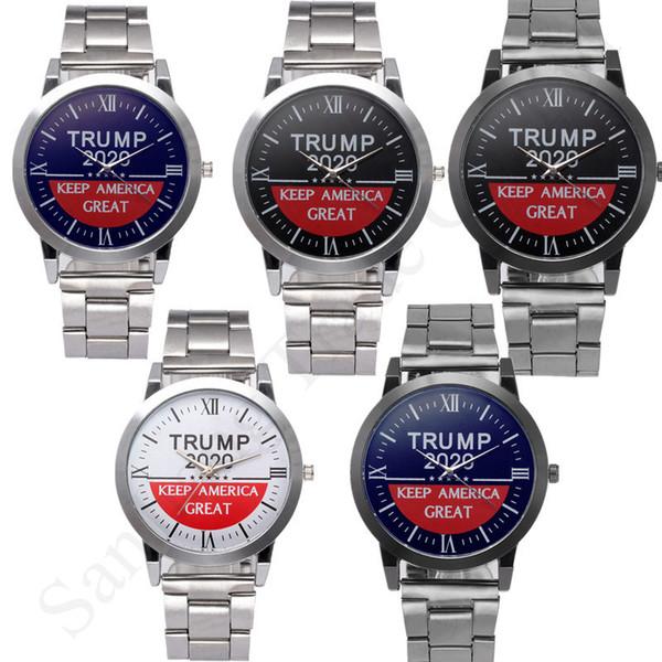 Halten Sie New Trump 2020 Armbanduhren Letters Quarz-Armbanduhr Amerika Große Herren-Legierung Edelstahl Bügel-Uhrenarmband Retro Unisexuhren C91707
