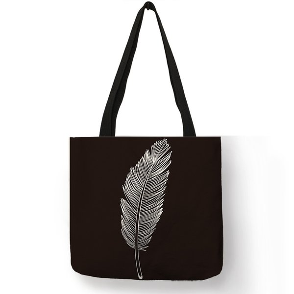 Casual Leisure Lady Men Hand Bags Coffee Clock Feather Compass Letter Printed Shoulder Bags Linen Durable Daily Sack Sac A Main