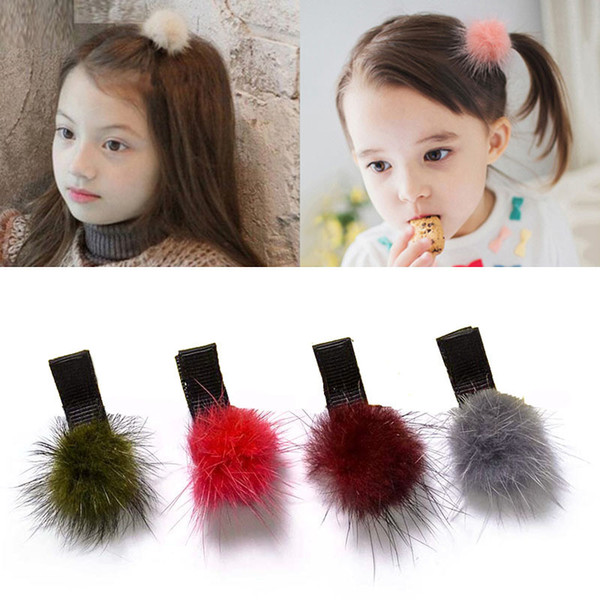 New Hot 1 PCS Lovely Soft Fur Pompom Mini Hair Ball Baby Hairpins Kids Hair Clips Princess Barrette Girls Clip Accessories