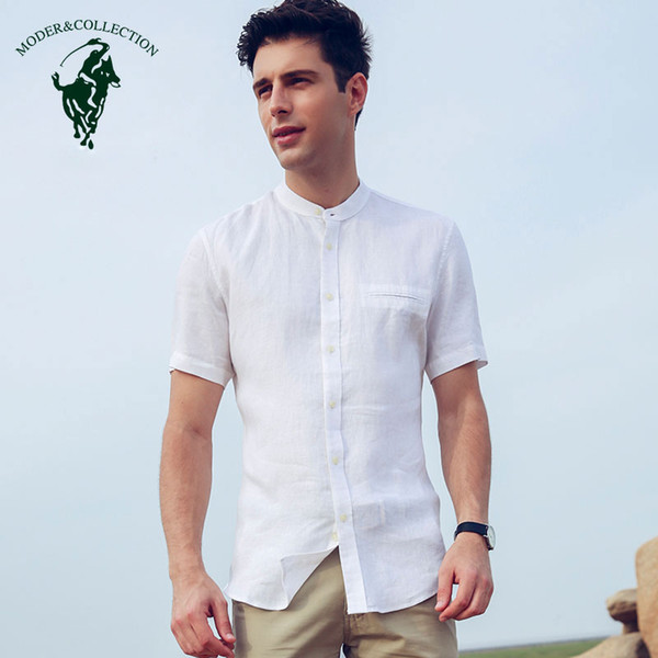 2 Farben 100% der Männer Leinen Kurzarmhemd Reguläre Passform Brusttasche Shirts Arbeits-Büro Thin Solid Ständer Kleid Shirts