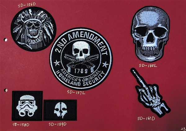 8P-26 Hot sale Skull embroidered patches iron on patch Armband 2ND AMENDMENT Army patch for jacket/cap accessories