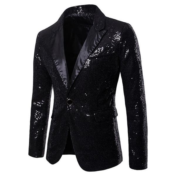Vogue Mens Shiny Blazers Jackets Sequin Glitter Suit Jacket Men Nightclub DJ Stage Suit Coats Wedding Party Overcoat