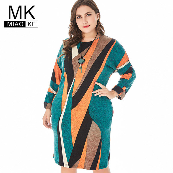 Miaoke 2019 Spring Womens Plus Size Club Knit Dress High Quality Fashion Ladies Vintage Elegant Office Midi Mom Dresses Y19052703