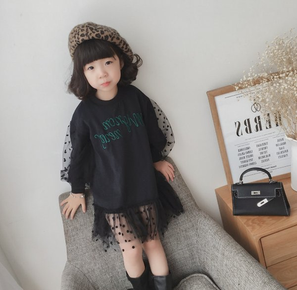 2019 Spring new kids lace polka dots dress girls letter printed princess dress children sweatshirt splicing lace falbala dress F3481