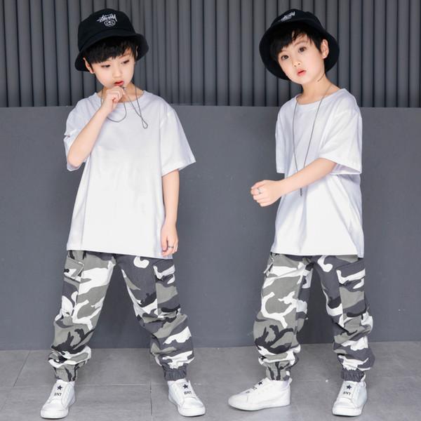 Mädchen Hip Hop Dance Kleidung Plain Weißes T-shirt Top Camouflage Jogger Hosen Kinder Moderne Ballsaal Kostüme Tanzen Kleidung