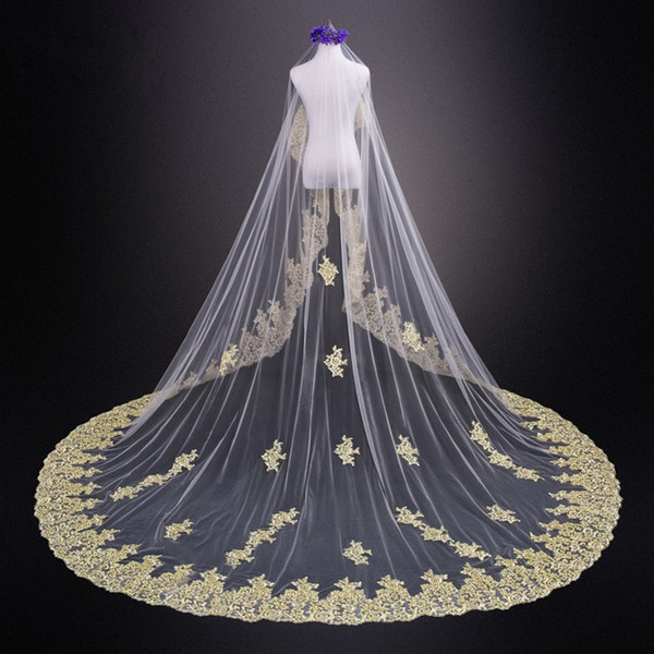Amazing 2019 Gold Applique Lace 3 Meters Wedding Veils For Bride Cheap White Ivory With No Comb Long Bridal Veil Country Wedding dress