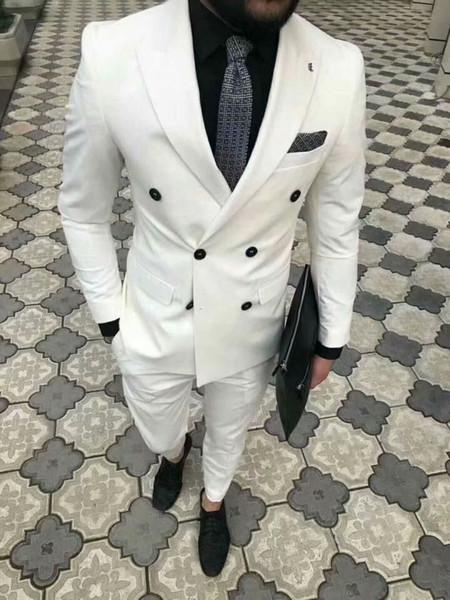 2019 últimos diseños de pantalón de abrigo blanco smokinges de doble botonadura slim fit hombres trajes para boda baile cena traje traje terno