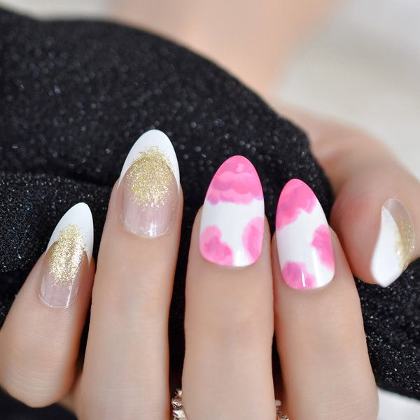 24pcs Pink Flower Pattern Nail Stiletto Sharp French False Nail Full Cover Acrylic Artificial Glitter Fake Nails Fuax Ongles
