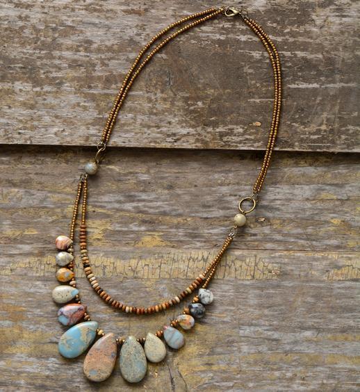 Girocolli Collane Per Le Donne Teardrop Pietre Naturali Perline Perline Breve Collana Di Lusso Perline Gioielli Dropshipping J190711