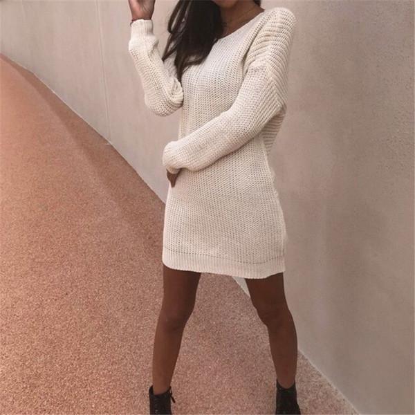 2018 maglione Black Winter Women Dress O collo manica lunga linea Backless Knit Mini Vestito aderente sottile femminile del bicchierino della ragazza
