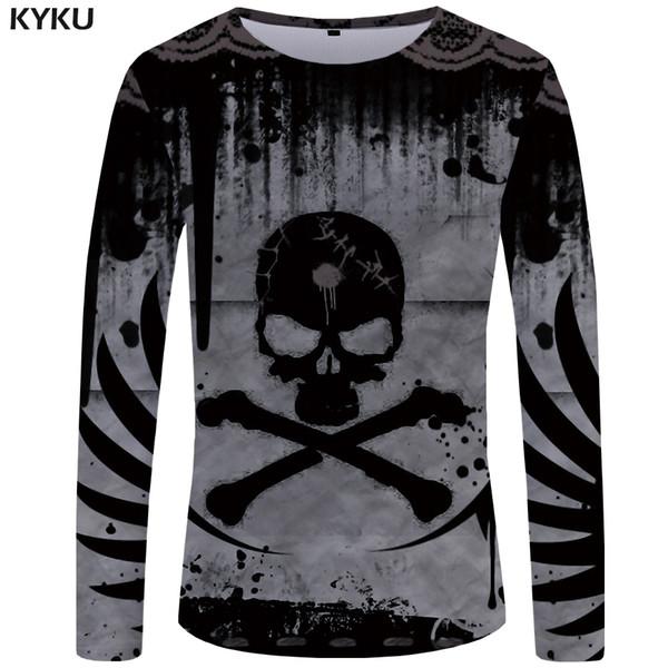 KYKU Crânio T shirt Homens camisa de manga Longa Diabo Engraçado camisetas Hip Hop Impresso Tshirt Casual Punk Hip hop Gráfico Dos Homens Roupas SH190828