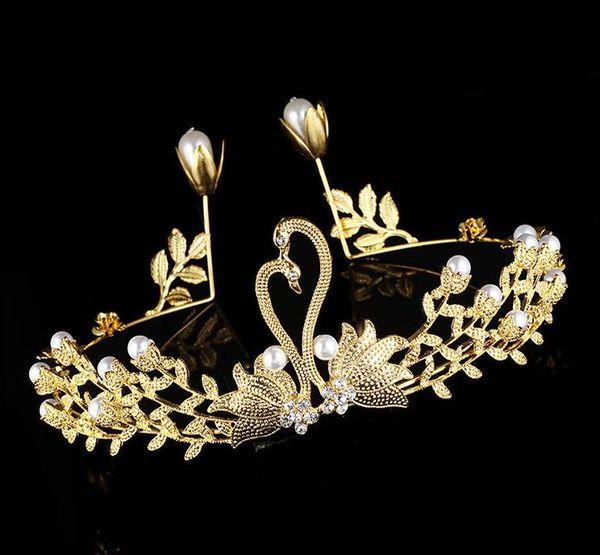 Bride Crown, New European, American and Korean Jewelry Golden Swan Pearl Cake Baking Decoration