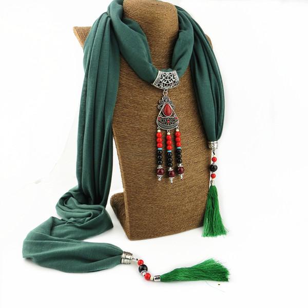 Çok renkli katı moda püskül tasarım eşarp takı kolye kolye kadın eşarp ücretsiz kargo