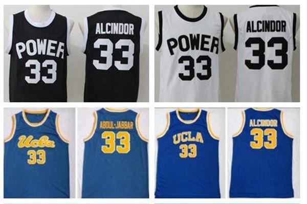 NCAA College Men Basketball 33 Lewis Alcindor Jr Jersey High School St Joseph CT Power Jerseys Black White Kareem Abdul-Jabbar UCLA Bruins