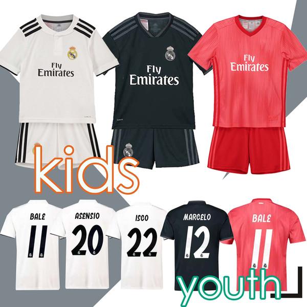 2019 Maglia per bambini Real Madrid Maglia da calcio 2018/19 Home Bianco Away Boy Maglie da calcio ISCO ASENSIO BALE KROOS Maglie da calcio 3 ° bambino