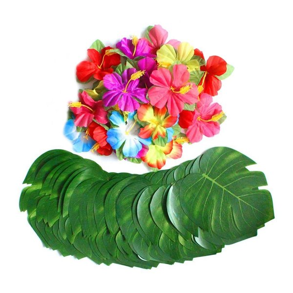 60 Pcs Tropical Party Decoration Supplies 8 inch Tropical Palm Monstera Leaves and Hibiscus Flowers, Simulation Leaf for Hawaiia