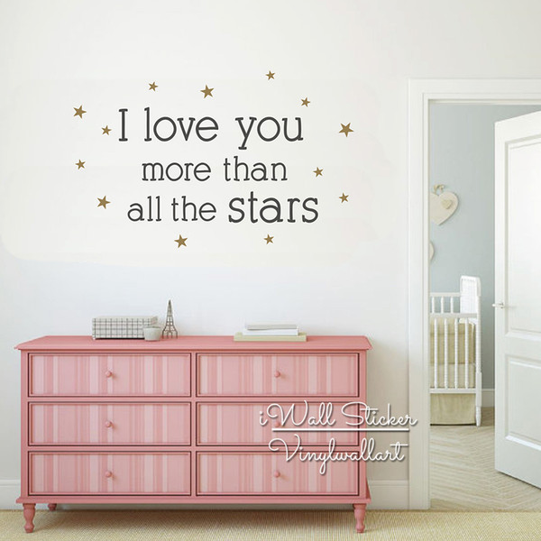I Love You More Than All The Stars Quote Wall Sticker, Wall Stickers For Kids Rooms, Baby Nursery Quotes Wall Decal Q272