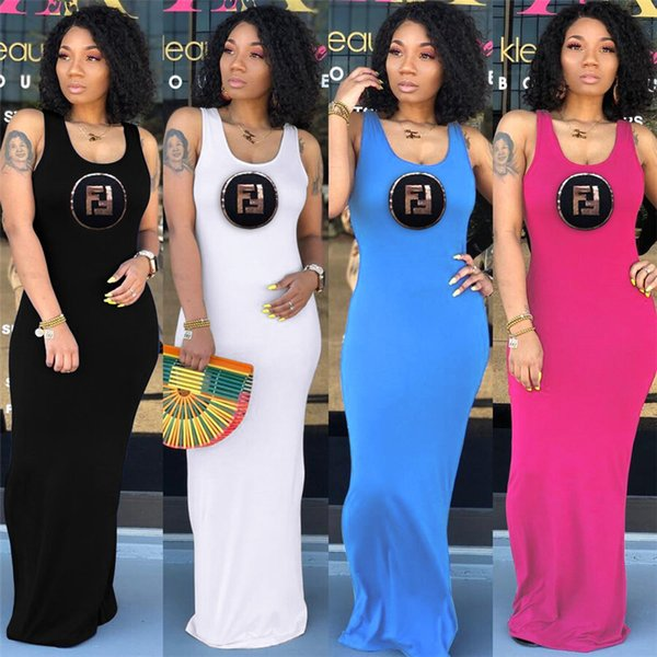 Women FF Letter Print Long Dress Summer Sleeveless Vest Skirts Solid Color Slim Bodycon Maxi Dresses Party Beach Clothes S-XL C42407