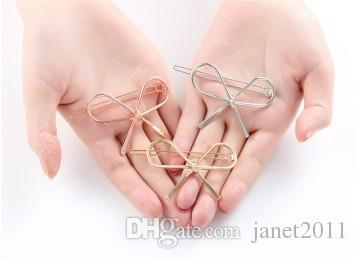 bowknot hair clips silver gold tone rose gold geometric hollow out womens hair barrettes clip metal hairpin hair clip clamps