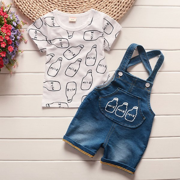 good quality Baby boys clothing sets baby summer products bebe cotton tops + bib shorts 2 pcs suit infants for baby clothing