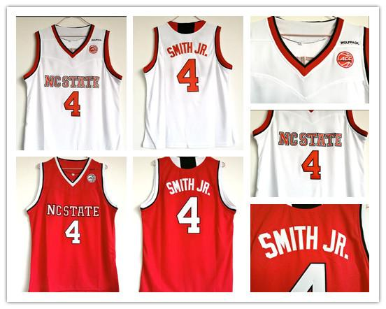 Cheap NCAA College Wolfpack Dennis Smith Jr. College Basketball Jersey Red White Dennis Smith Jr. University Stitched Jerseys