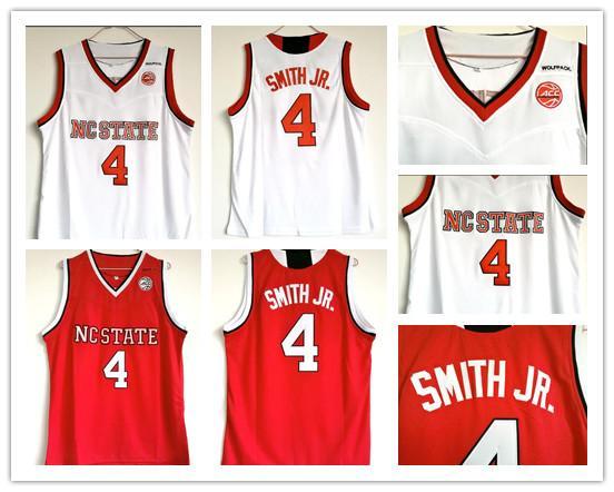 Maillot de basketball universitaire pas cher Wolfpack Dennis Smith Jr. College Rouge Blanc Dennis Smith Jr. University Stitched Jerseys