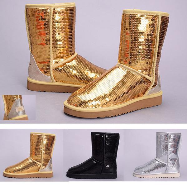 UGG snow boots Kadınlar için 2019 çizmeler Avustralya Klasik kar Botları WGG Söyle Kırmızı siyah Bailey Ilmek kız kış desinger ayakkabı çizmeler Pullu size36-41