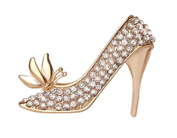 2019 New High-heeled shoes Brooch ,Hot Selling Crystal Rhinestones Boot Shaped Brooch Pin Decoration wholesale 173