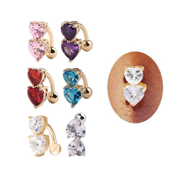 10pcs Sexy Women Barbell Rhinestone Crystal Ball Piercing Heart Shape Navel Belly Button Ring Body Jewelry Navel Piercing Rings