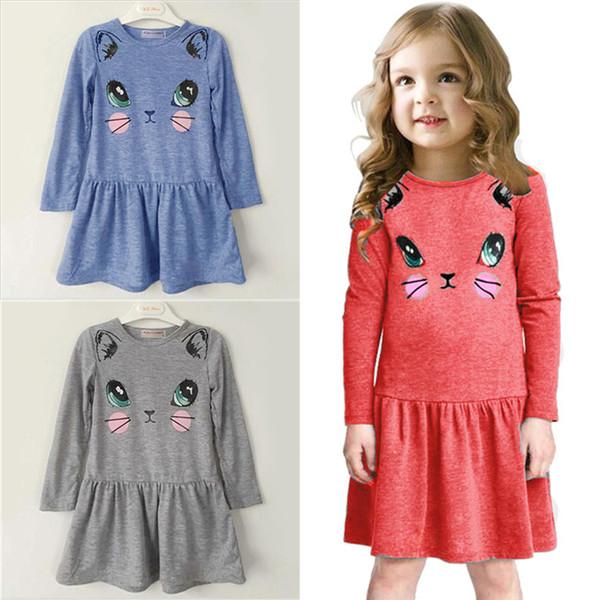 Vestiti dei capretti di modo 3 colori Stampati a maniche lunghe del fumetto delle ragazze dei vestiti dei capretti delle ragazze progettano le ragazze JY113