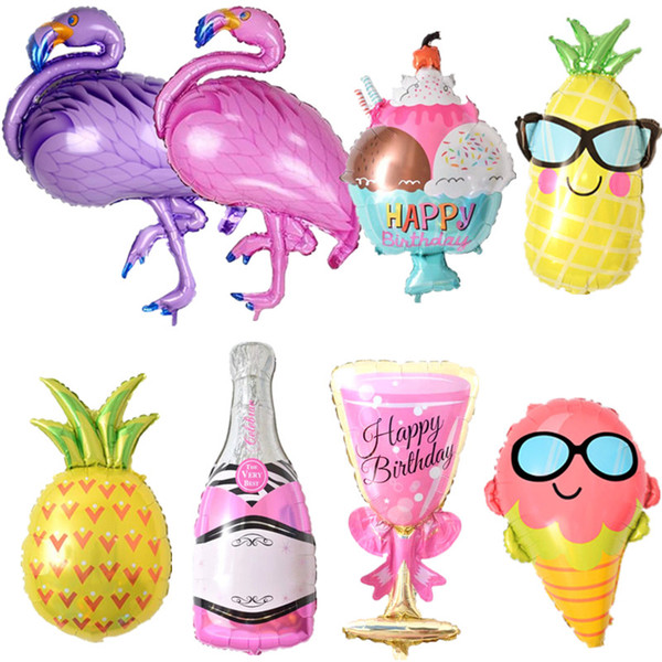 Balões de aniversário Flamingo / Abacaxi / Copo de cerveja Balão Folha Decoração de aniversário Crianças Adulto Festa na praia Festa na praia Hélio Globos de ar