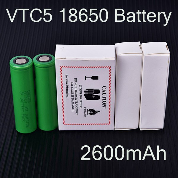 Rechargeable VTC5 Batteries 18650 Battery 2600mAh 3.7V 30A Lithium Battery Using for Ecig Box Mods Packing DHL Free 100% Newest FJ752