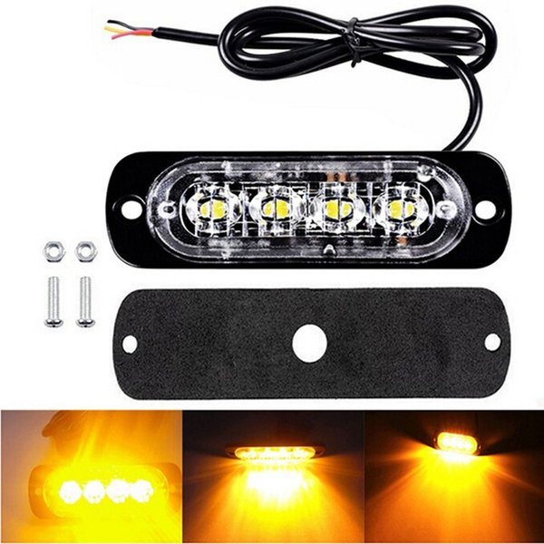 2xCar Camion 4 LED Strobe d'avertissement clignotant Grill Traffic Beacon Police Lumière Breakdown4 LED voiture flash camion d'urgence Beacon Light Bar Hazard