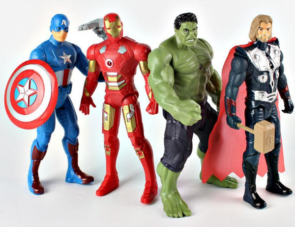 4pcs 1set 18cm Superhero Captain America Ironman Thor Hulk Model Marvel Avengers Light Up PVC Action Figure Toys Kids Birthday Gifts